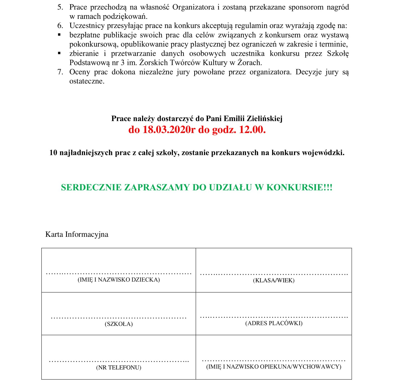 Regulamin Wojewódzkiego konursu plastycznego Najpiękniejsza pisanka do szkoły-2