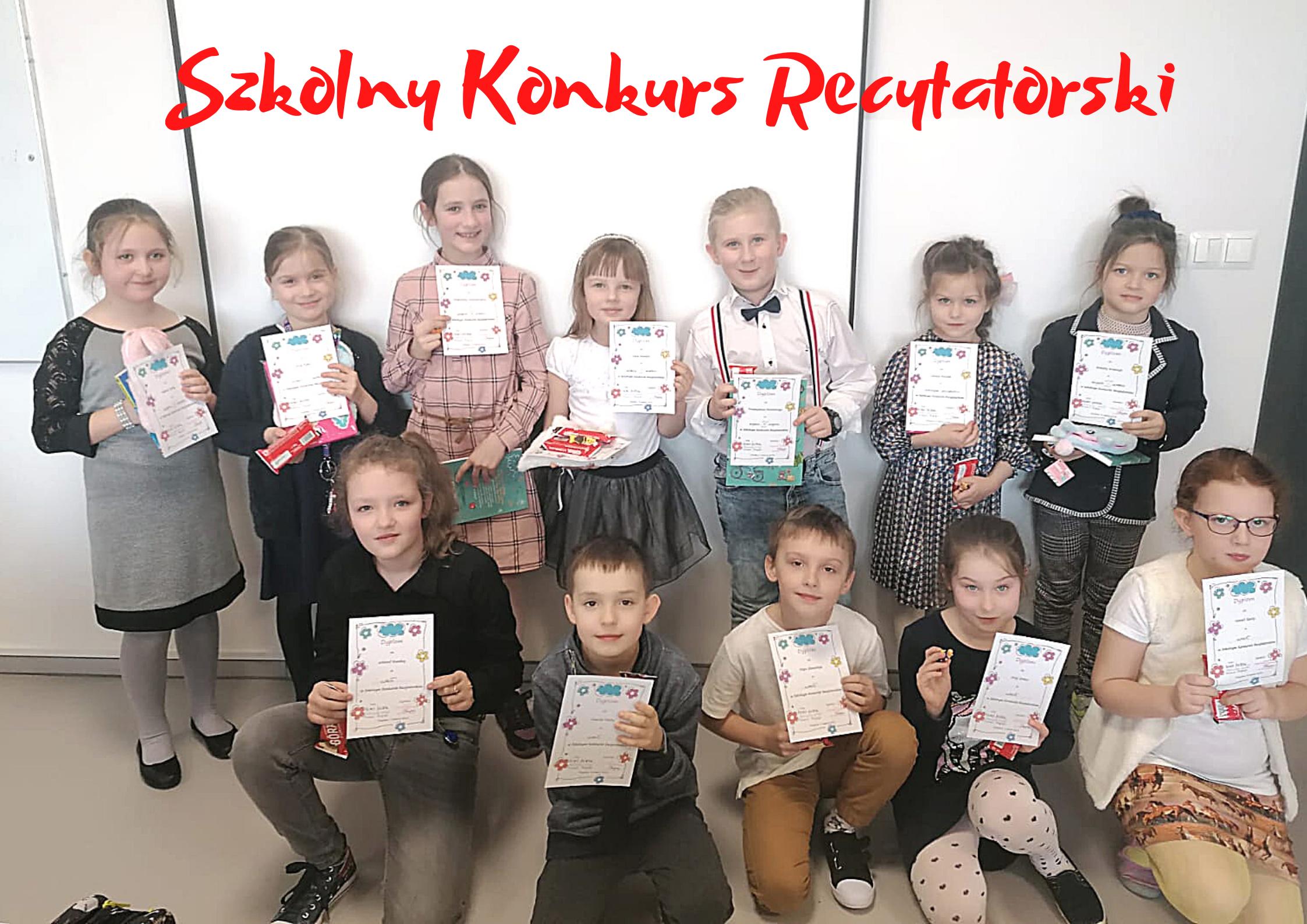 Uczestnicy Szkolnego Konkursu recytatorskiego dla klas 1 - 3
